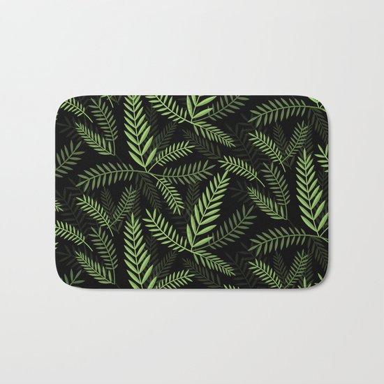 GREEN LEAVES ON BLACK Bath Mat