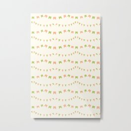 Summer Party Banner Flags Illustrated Print in Peach and Green Metal Print