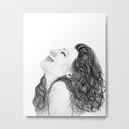 Tell Me Something Good in B/W - Expressions of Happiness Series - Black and White Original Drawing Metal Print