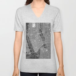New York City Vintage Map Unisex V-Neck
