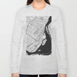 Montreal Map Gray Long Sleeve T-shirt