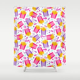 French Fries junk food party time razzle neon bright happy fun kids children pop art pattern foods Shower Curtain