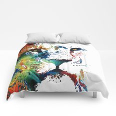 Colorful Lion Art By Sharon Cummings Comforters