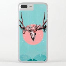 Vintage Deer Skull Clear iPhone Case