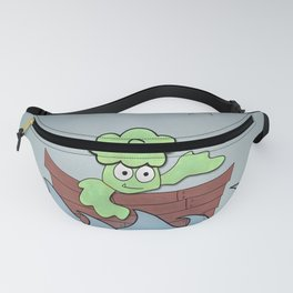 Smiling Broccoli in a rowboat at sea during the night Fanny Pack
