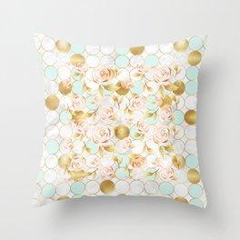 Golden english roses Throw Pillow