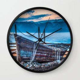 Old fishing boat with net Wall Clock