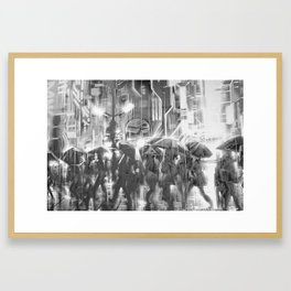 Rainy day in the city. Framed Art Print