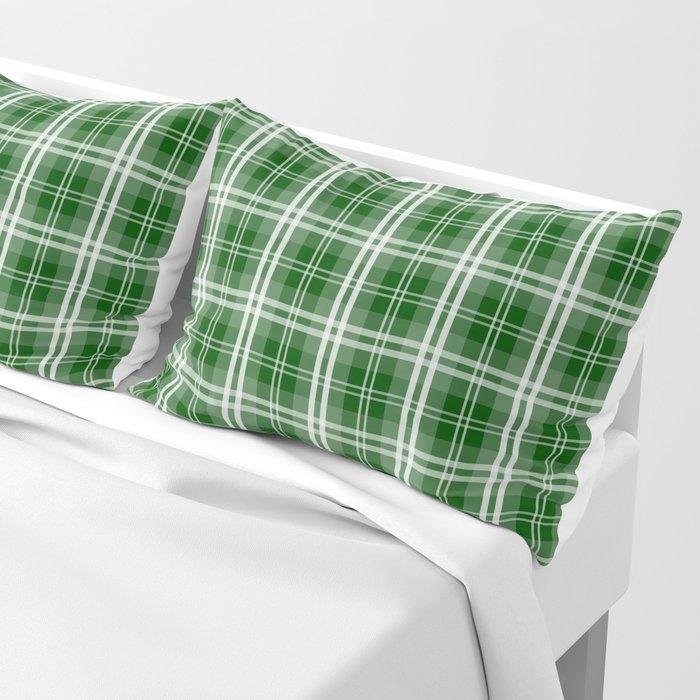Christmas Tree Green Tartan Plaid Check Pillow Sham