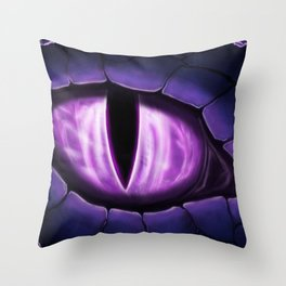 Purple Dragon Eye Fantasy Painting Colorful Digital Illustration Throw Pillow