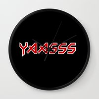 iron maiden Wall Clocks featuring Yaasss Iron Maiden Metal Typography Print by RexLambo