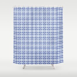 Squares and triangles pattern blue Shower Curtain