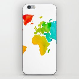 Original Watercolor - Map of The World - Travel Art - Chakra Rainbow Colors iPhone Skin