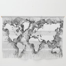 Watercolor splatters world map in grayscale Wall Hanging