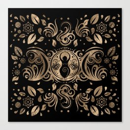 Triple Moon Goddess Gold and Black Canvas Print