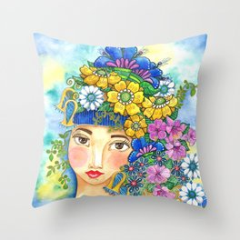 Eighties Side Ponytail Throw Pillow