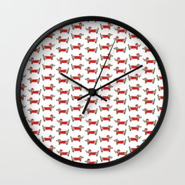 Christmas dachshund pattern Wall Clock