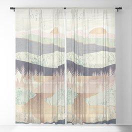 Golden Spring Reflection Sheer Curtain