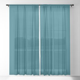 Sherwin Williams Trending Colors of 2019 Oceanside (Dark Aqua Blue) SW 6496 Solid Color Sheer Curtain