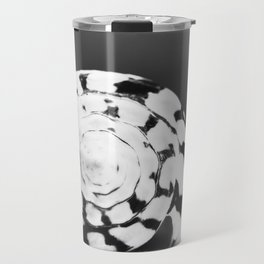 Black and White Seashell Photography, Shell Photo, Neutral Beach Art, Black White Coastal Photo Travel Mug