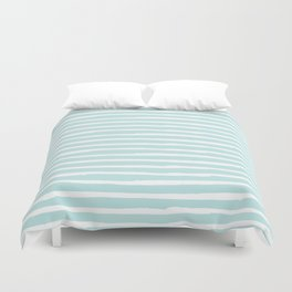 Elegant Stripes Succulent Blue and White Duvet Cover
