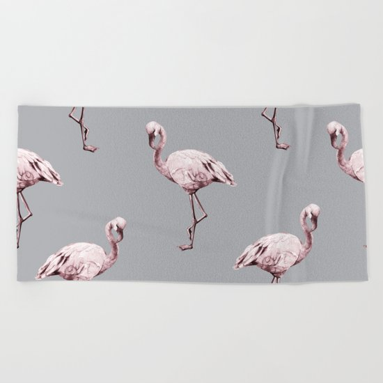 Simply Flamingo on Concrete Gray Beach Towel