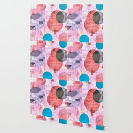 geometric square and circle pattern abstract in red pink blue Wallpaper
