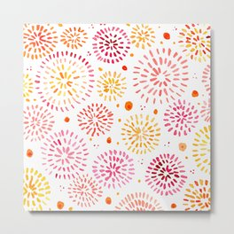 Abstract watercolor sparkles – yellow and orange Metal Print
