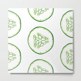 Cucumber slices pattern Metal Print