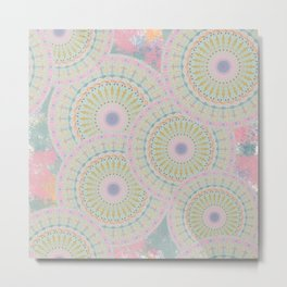 Pink Mandala Pattern Metal Print