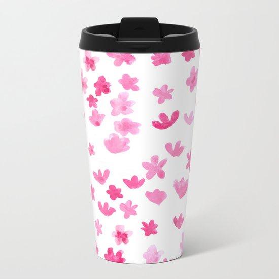 Pink Blooms Metal Travel Mug