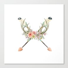 arrows and flowers - white Canvas Print