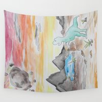 dinosaurs Wall Tapestries featuring Dinosaurs' Downfall by Wetherall