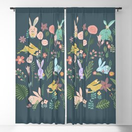 Springtime In The Bunny Garden Of Floral Delights Blackout Curtain
