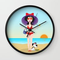 martini Wall Clocks featuring Martini Girl by Jyoti Khetan