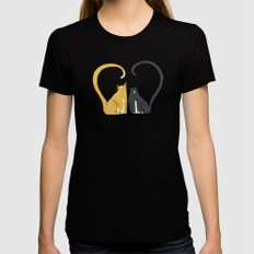 Love Cats MEDIUM Womens Fitted Tee Black