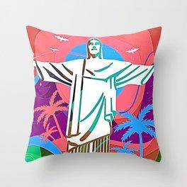 Psychodelic Rio v3 Throw Pillow