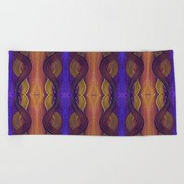Golden Violet Autumn Waves Vertical Pattern Beach Towel