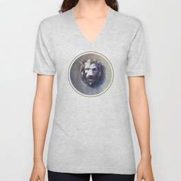 Lion Head White Marble Unisex V-Neck