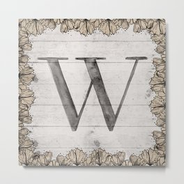 Neutral Monogram W Metal Print