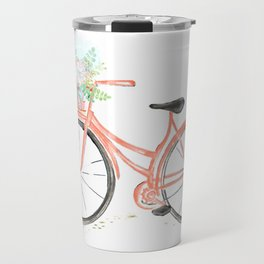 Coral Spring bicycle with flowers Travel Mug