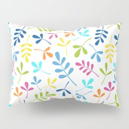 Multicolored Assorted Leaf Silhouette Pattern Pillow Sham