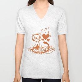 Valentine Cat and Bird Musical Hearts Unisex V-Neck
