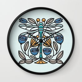 Dragonfly tile Wall Clock