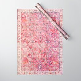 N45 - Pink Vintage Traditional Moroccan Boho & Farmhouse Style Artwork. Wrapping Paper