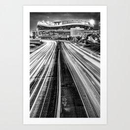 Denver Football Stadium at Mile High in Monochrome Art Print