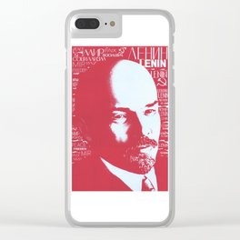 Russia, URSS Vintage Poster, Lenin Clear iPhone Case