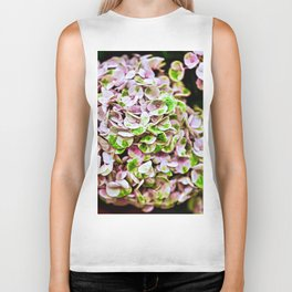 Cluster Of Pink, White & Green Flowers Closeup Biker Tank