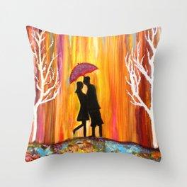 Romance in the Rain I romantic gift art Throw Pillow