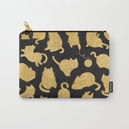 Gold on Black Kitty Pattern Carry-All Pouch